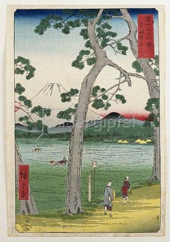 Utagawa Hiroshige: Der Berg Fuji, Ansicht von der Straße Tokaido. Von 'Sechsunddreißig Ansichten des Berges Fuji'. 1858.
