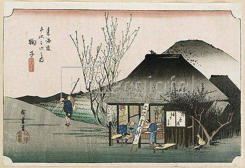 Utagawa Hiroshige: Das berühmte Teehaus bei Mariko. Aus der Serie 'Die 53 Stationen des Tokaido'. Ca. 1834.