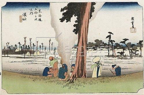 Utagawa Hiroshige: Winter-Ansicht, Hamamatsu. Aus der Serie 'Die 53 Stationen des Tokaido'. Ca. 1834.
