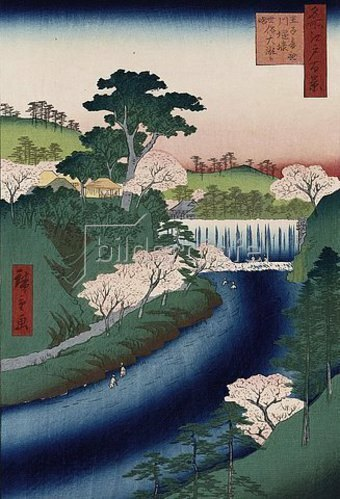 Utagawa Hiroshige: Otonashi River Dam, Oji, popularly called Great Waterfall', from the Series 'One Hundred Views of Famous Places in Edo'.