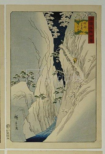 Utagawa Hiroshige: Kiso-Schlucht im Neuschnee. Aus der Serie 'Hundert Ansichten von berühmten Orten in den Provinzen'.