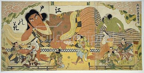 Utagawa Hiroshige: Flower of Edo, Great Drunkard of Oeyama. A Triptych depicting basketwork models of Shutendoji and Oni.