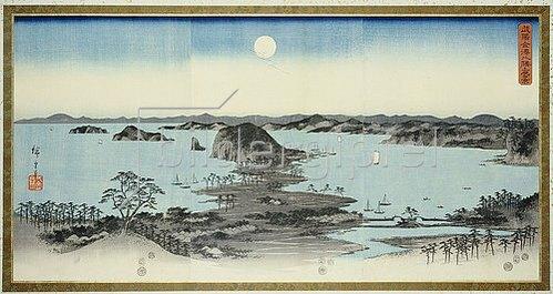 Utagawa Hiroshige: Night View of Eight Excellent Sceneries of Kanazawa in Musashi Province.