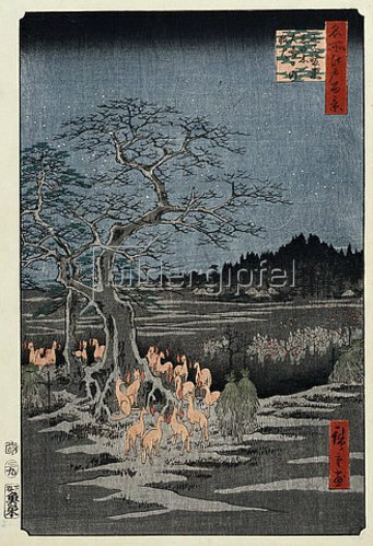 Utagawa Hiroshige: New Year's Eve foxfires at the Nettle Tree, Oji', from the Series, 'One Hundred Famous Views of Edo.