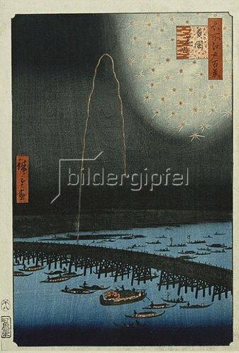Utagawa Hiroshige: Feuerwerk bei Ryogoku. Aus der Serie 'Hundert berühmte Ansichten von Edo'. 19. Jh.