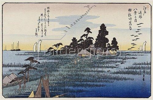 Utagawa Hiroshige: Gänse im Sinkflug bei Haneda. Aus der Serie 'Acht Ansichten aus der Umgebung von Edo'.