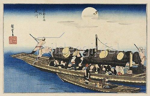Utagawa Hiroshige: Der Fluß Yodo. Aus der Serie 'Berühmte Ort Kyotos'.