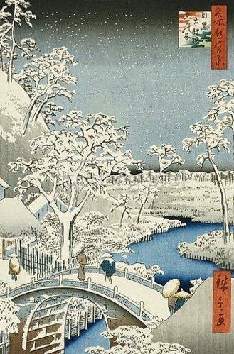 Utagawa Hiroshige: Trommel-Brücke und Hügel der untergehenden Sonne. Aus der Serie 'Hundert berühmte Ansichten von Edo'.