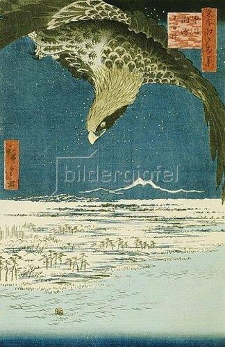 Utagawa Hiroshige: Die Hunderttausend-Tsubo-Ebene bei Fukagawa Susaki. Aus der Reihe 'Hundert Ansichten von berühmten Plätzen in Edo'.
