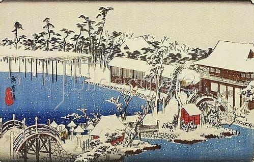 Utagawa Hiroshige: Schnee im Vorhof des Tenman-Schreins zu Kameido. Aus der Reihe ';Berühmte Plätze der östlichen Hauptstadt'.