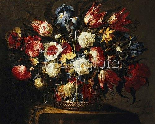 Juan de Arellano: Blumenstrauß in einem Korb.