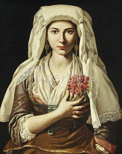 Francesco Cozza: Bildnis einer jungen Frau mit Nelke.
