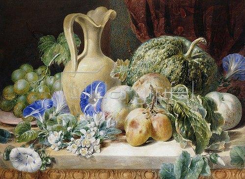 Valentine Bartholemew: Stillleben mit einem Krug, Äpfeln, Pflaumen, Trauben und Blumen.