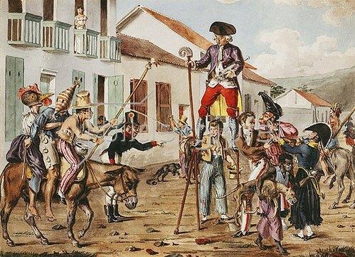 François Désiré Roulin: Karnevalsszene in Bogota, Kolumbien. Um 1822-28
