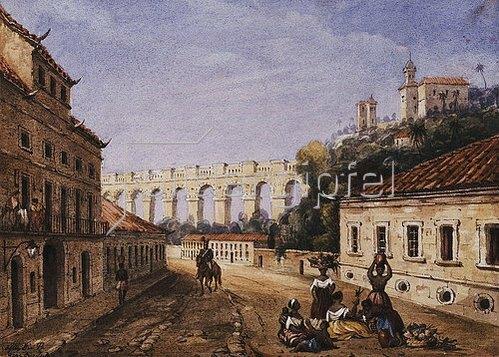 William Gore Ouseley: Aquädukt und das Kloster der heiligen Teresa in Rio de Janeiro.