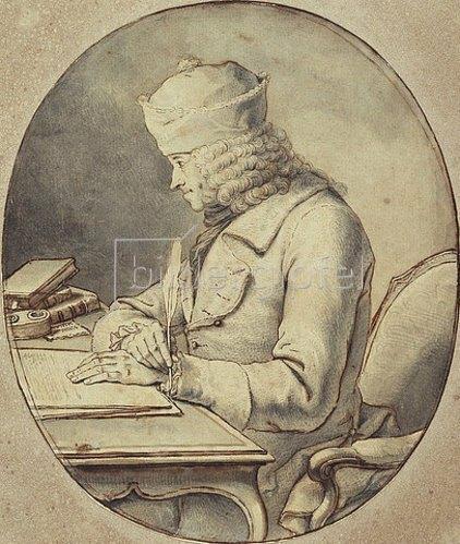 Stanislaus-Jean (Marquis de) Boufflers: Voltaire an seinem Schreibtisch. Um 1765