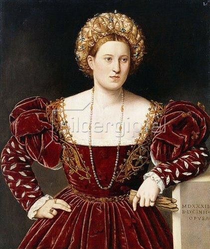 Bernardino Licinio: Porträt einer Dame in einem burgunderroten Kleid.