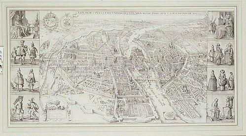 Unbekannt: Karte mit Paris aus der Vogelpersepktive: 'Le Plan De La Ville, Cite, Universiteet Fauxbourges De Paris'. 1615.