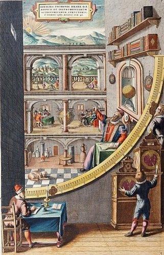 Joan Blaeu: Der Astronom Tycho Brahe (1546-1601) im Alter von 40 Jahren mit astronomischen Instrumenten. Handkolorierter Kupferstich aus dem 'Atlas Major' von Joan Blaeu. 1587.