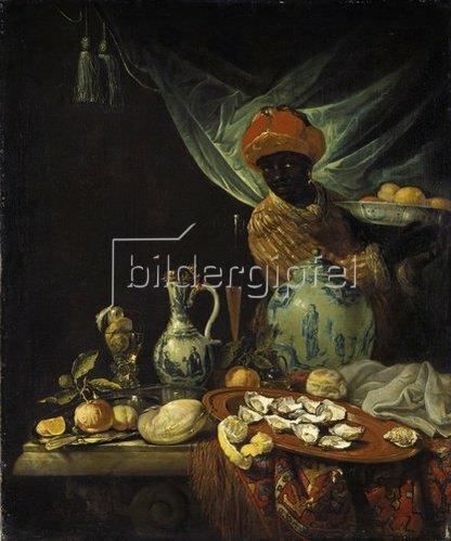 Juriaen van Streek: Stilleben mit Mohr und Porzellangefäßen. Wohl um 1680