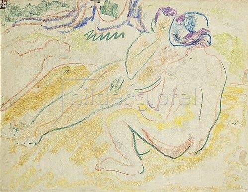 Ernst Ludwig Kirchner: Zwei liegende Akte (verso). 1905