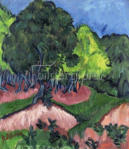 Ernst Ludwig Kirchner: Landschaft mit Kastanienbaum. 1913