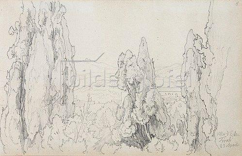 Friedrich Preller: Zypressen bei der Villa d'Este in Tivoli.
