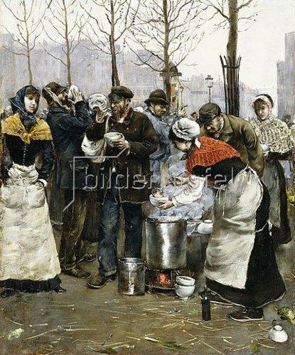 Norbert Goeneutte: Suppenausgabe an einem Wintertag, Paris. 1881