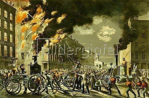 Charles Parsons: Das Leben eines Feuerwehrmannes - Die neue Ära. Dampf und Muskel. 1861. Veröffentlicht von 'Currier and Ives'.