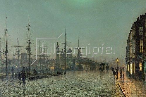 John Atkinson Grimshaw: Die Hull-Docks bei Nacht.