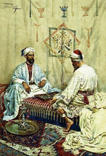 Giulio Rosati: Araber beim Backgammon Spiel.