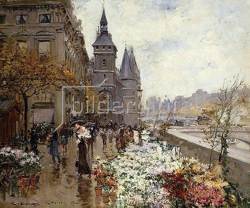 Georges Stein: Blumenmarkt an der Seine.