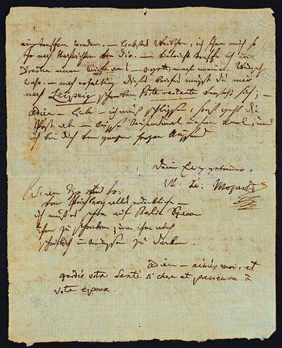 Wolfgang Amadeus Mozart: Handschriftlicher und unterschriebener Brief von Mozart an seine Frau Constanze. Prag, Karfreitag, den 10. April 1789.
