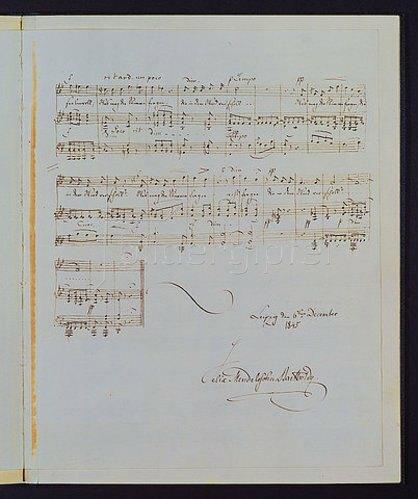 Felix Mendelssohn Bartholdy: Eigenhändiges Manuskript von 'Im Frühling', Opus 9 Nr. 4. Datiert 6. Dezember 1845