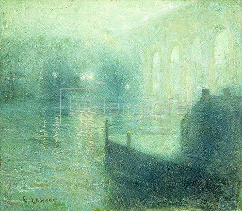 Ernest Lawson: Harlem River bei Nacht.