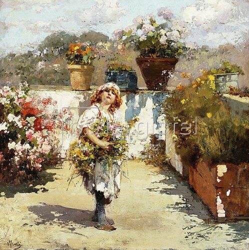 Vincenzo Irolli: Blumenmädchen auf einem sonnigen Balkon.