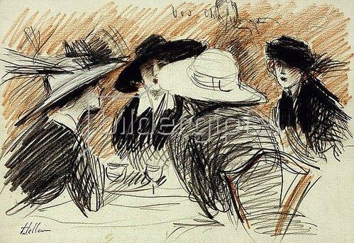 Paul César François Helleu: Vos Chapeux: Damen im Ritz, New York. 1913
