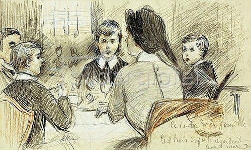 Paul César François Helleu: Eine Familie beim Abendessen im Ritz, New York. 1920