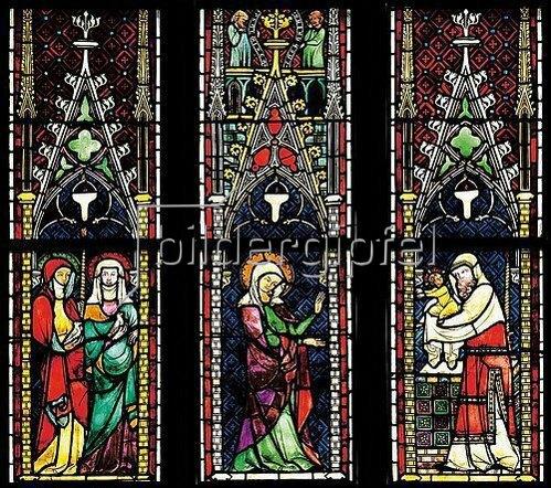 Menschwerdung Christi. Buntglasfenster im Chorumgang. Kurz vor 1330. Detail: Darbringung im Tempel.