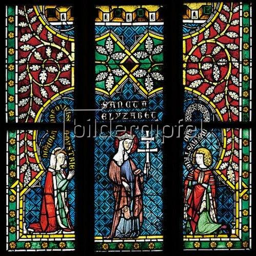 Menschwerdung Christi. Buntglasfenster im Chorumgang. Kurz vor 1330. Detail: Anbetung der Könige.
