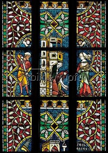 Johannes- und Katharinafenster. Buntglasfenster im Chorumgang des Klosters Königsfelden.Detail: Enthauptung des Johannes. Ca. 1340.