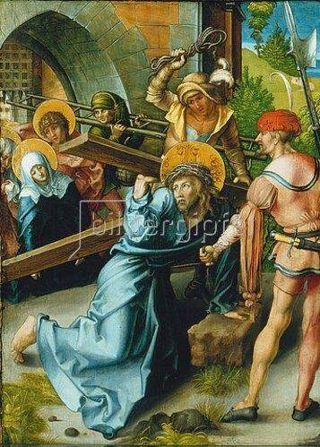 Albrecht Dürer: Altar: Die sieben Schmerzen der Mariae. Tafel oben links. Detail: Untere, mittlere Tafel 1495/96