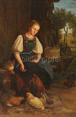 Hans Thoma: Hühnerfütterung. 1864