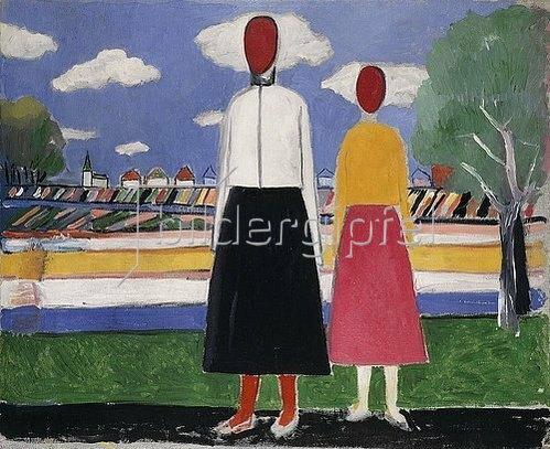 Kasimir Malewitsch: Zwei Personen in einer Landschaft. Um 1931/32