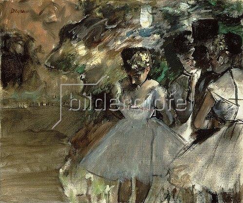 Edgar Degas: Drei Tänzerinnen in den Kulissen (Trois Danseuses dans les Coulisses). Circa 1880-85