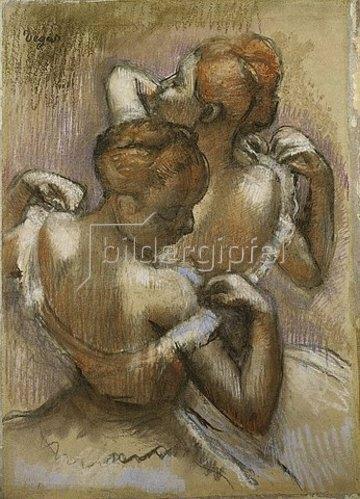 Edgar Degas: Zwei Tänzerinnen des Ensembles richten ihre Schulterträger. (Deux Danseuses à Mi-Corps, ajustant Leurs Epaulettes.) Um 1897