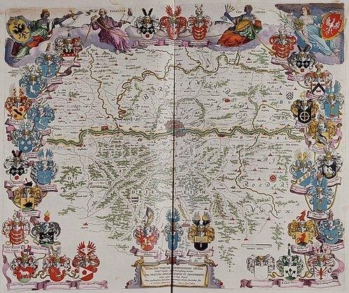 Joan Blaeu: Eine Karte mit Frankfurt am Main im Zentrum und dem Mainlauf zwischen Hanau und Kelsterbach. Aus dem Werk 'Le Grand Atlas Ou Cosmograph E Blaviane'. Herausgegeben in Amsterdam 1667