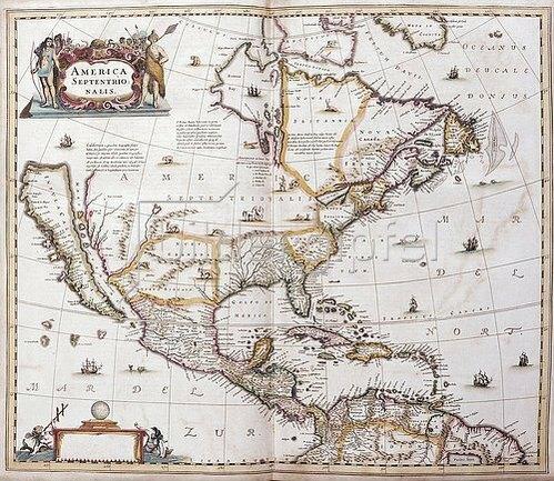 Johannes Janssonius: Karte von Nordamerika. Aus dem Werk 'Nouveau Theatre Du Monde Ou Nouvel Atlas Comprenant Les Tables Et Descriptions De Toutes Les Regions De La Terre'. 1641