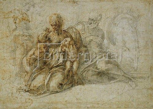 Michelangelo: Die Begegnung der Kinder. Johannes der Täufer mit der Heiligen Familie, von Engeln begleitet.