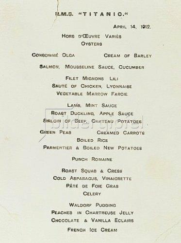 Eine Speisekarte der Ersten Klasse aus dem Café Parisien der RMS Titanic. 14. April 1912.
